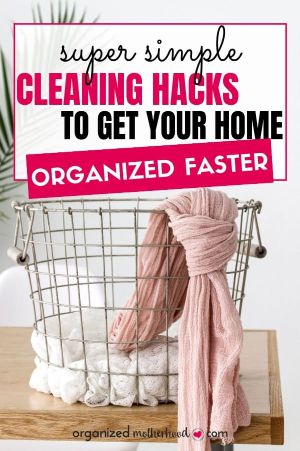 Struggling to follow a cleaning schedule? These easy cleaning hacks will help you clean and organize your home faster with ideas for decluttering, a free printable cleaning routine checklist, and tips so that you work smarter!