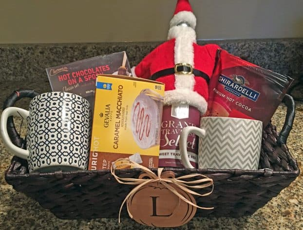 Put together a coffee gift basket to help your friend enjoy coffee shop coffee in the comfort of her own home.