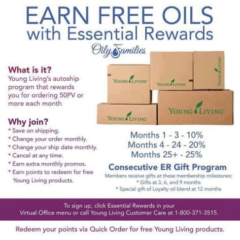 Sign up for Young Living's Essential Rewards program to earn free oils.