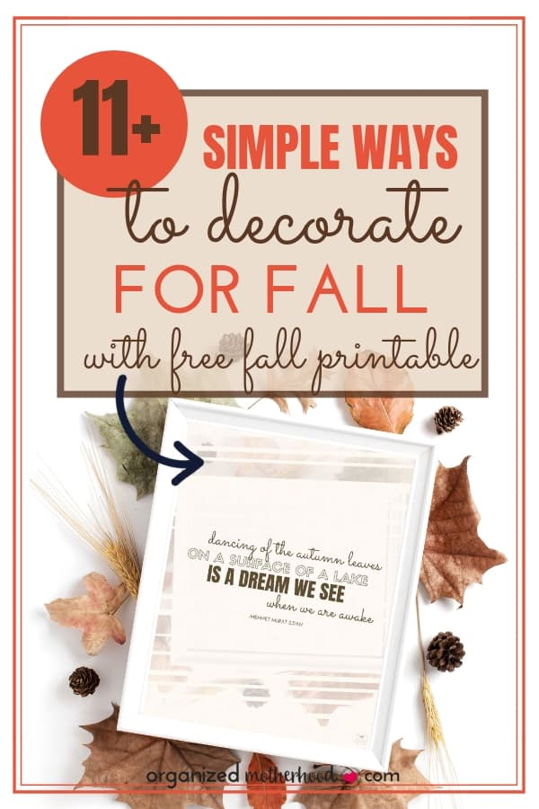 These cozy fall decorations are perfect to transition your home from Halloween to Thanksgiving. They're simple and easy to set out, but so pretty! Spend less than 5 minutes decorating for both holidays! Includes a free printable fall quote and artwork. #fall #homedecor #decorations #freeprintabe #organizedmotherhood