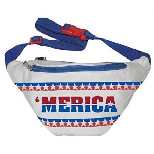 Perfect for a white elephant gift, Captain America costume, or 80's theme party, this Merica fanny pack will complete any outfit.