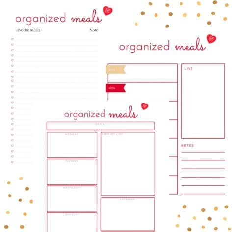 Download this free meal planner to get started listing your favorite meals and planning your dinners every week.