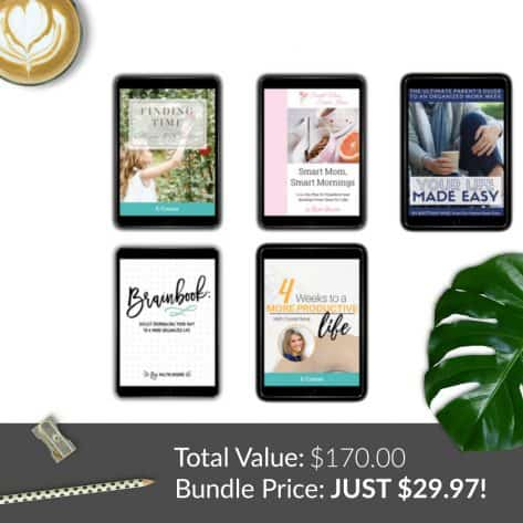 Time management and productivity are easy, even for overwhelmed moms with these resources from the Ultimate Homemaking Bundle.