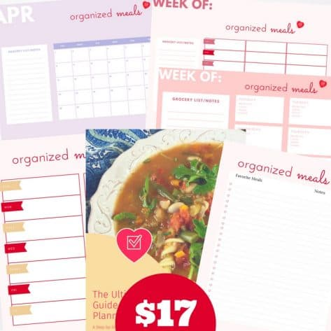 With 18 pages of printable meal planners, a beginner's guide to meal planning, and a quick start guide, this meal planning bundle is everything you need to get dinner on the table.