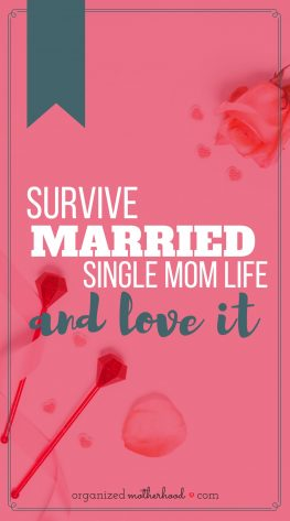 As a married single mom, it's so hard to get out of survival mode. These are my favorite tips to get through the loneliness, take care of the kids, and still make time for self-care when your husband can't help.