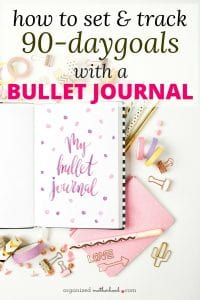 Bullet journal goal setting: learn how to break your goals into 90 day increments so you crush your goals. Includes a free printable goal tracker.