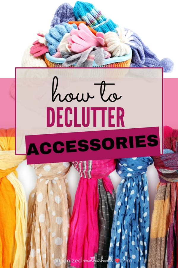 Tips to declutter accessories - organize your jewelry, scarves, shoes, handbags, and seasonal outerwear with these ideas. Especially if you live in an area with multiple seasons, you know how overwhelming the kids' hats and coats can get in winter!