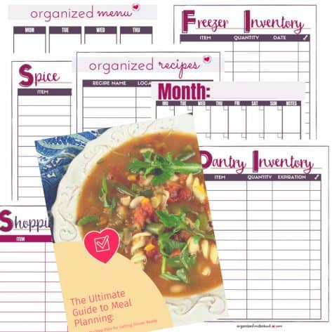 With monthly and weekly menu planners, freezer, pantry, and spice inventory lists, a page for your family's favorite recipes, and an easy-to-use shopping list, you'll be able to easily organize your family's meals. This bundle also includes a beginner's guide to meal planning and a quick start guide to get you started. This meal planning bundle is everything you need to get dinner on the table.