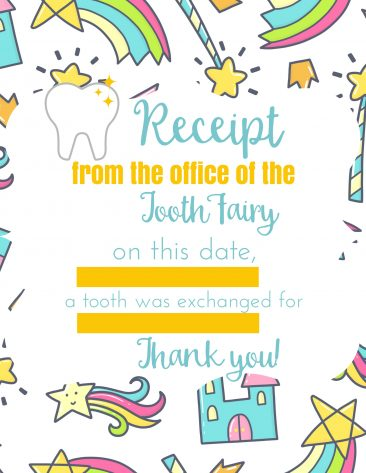 Print this receipt from the tooth fairy as a fun way to remember your child's first tooth.