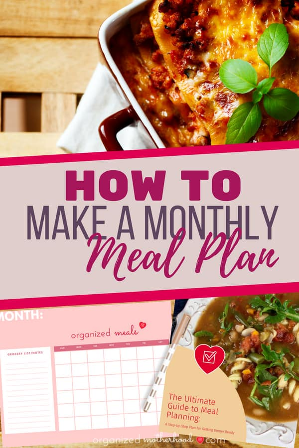 Make a monthly meal plan and simplify your dinner menu with these tips. Get family meals on the table faster, even during busy seasons. Whether you're a stay-at-home-mom or working mom looking to simplify mealtime, following a dinner plan will be life-changing.