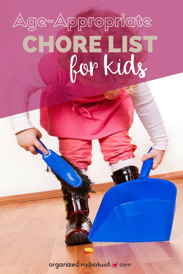 Raise responsible, happy kids! This age-appropriate chore list breaks down different tasks around the house that your kids can do by age and grade level. It's perfect to teach your kids responsibility and get some help around the house.