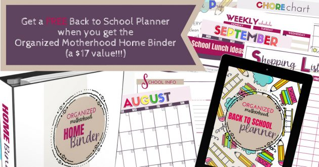Want to simplify your back-to-school prep and organize your home at the same time? Get a FREE copy of the Back to School Planner when you buy the Organized Motherhood Home Binder!