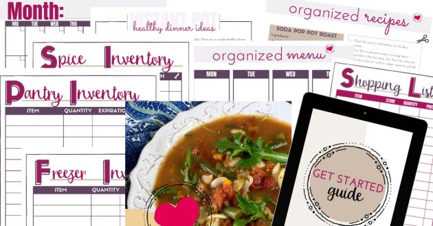 Looking to get dinner on the table quickly and easily? The Ultimate Guide to Meal Planning is a printable meal planning binder that has weekly and monthly planner pages, a shopping list, kitchen inventory templates, and over 30 delicious and easy recipes. It's everything you need for simple dinners!