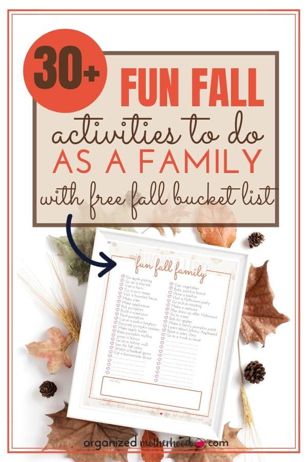 This list of fall activities for families is so cute! With over 30 things to do, you'll keep everyone entertained all season! Get the free printable bucket list and check off each task with your toddlers and older kids. My children had so much fun painting pumpkins! #fall #printable