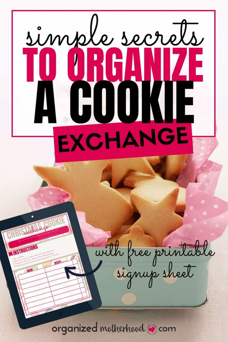 A cookie exchange is a fun way to celebrate the holiday season with your friends, church group, or family. Simplify your holiday baking and organize a cookie exchange with these simple tips. Includes a free printable signup sheet to make your exchange planning easy!