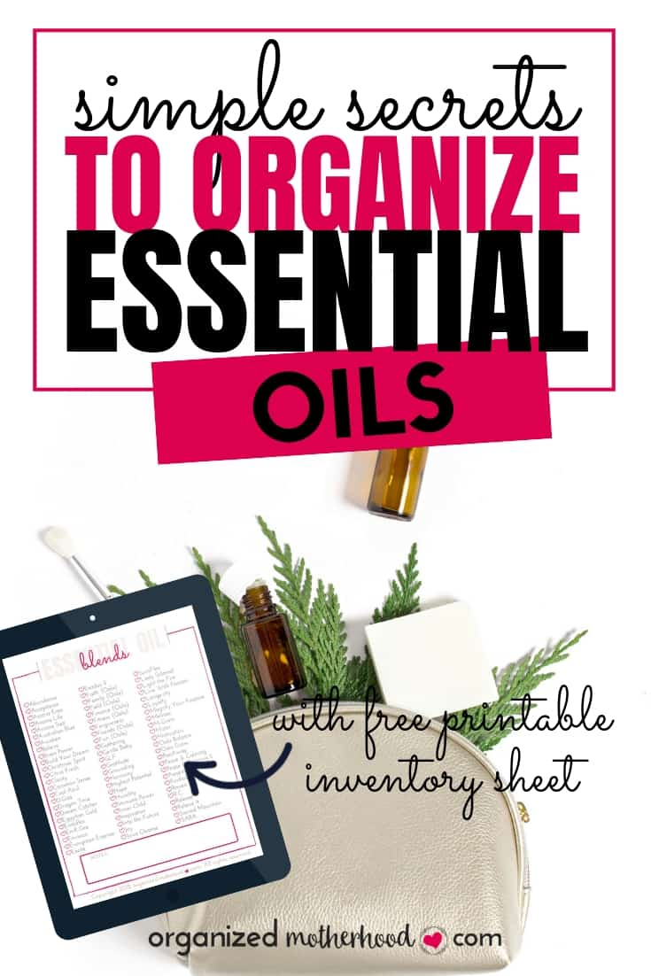 Organizing essential oils and finding storage solutions can be a challenge. These tips to declutter, organize, and keep track of your essential oils are perfect for running an oil business or keeping them around your house. Download the free printable inventory checklist! #essentialoils #storage #storagesolutions