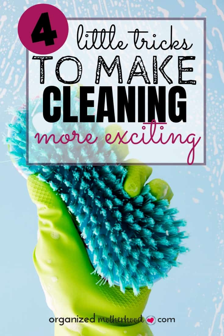 Find the motivation to spring clean and declutter with these 4 tips to make cleaning more exciting. #cleaninghacks #declutter #cleaningtips #productivity