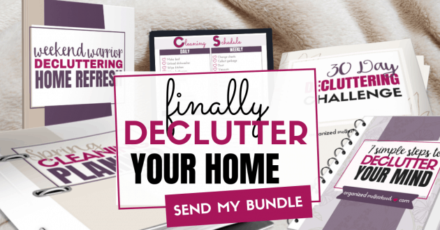 Want to declutter and organize your home right now? Get the 30 day decluttering challenge or do it in a weekend with the weekend warrior book. Start your spring cleaning early and declutter your mind all at the same time with the Organized Motherhood Decluttering Bundle!